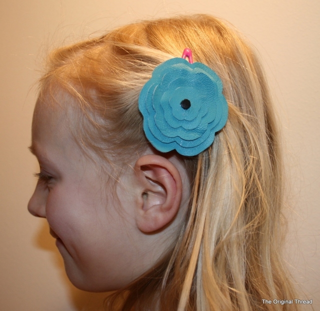 Teal Leather Flower Hair Clip