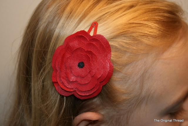 Red Leather Flower Hair Clip