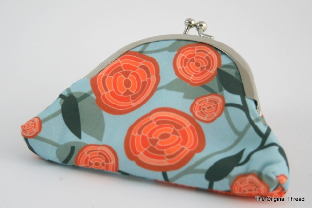 Orange Abstract Rose Coin Purse