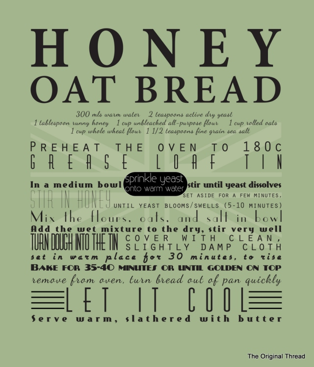 Honey Oat Bread Recipe Tea Towel