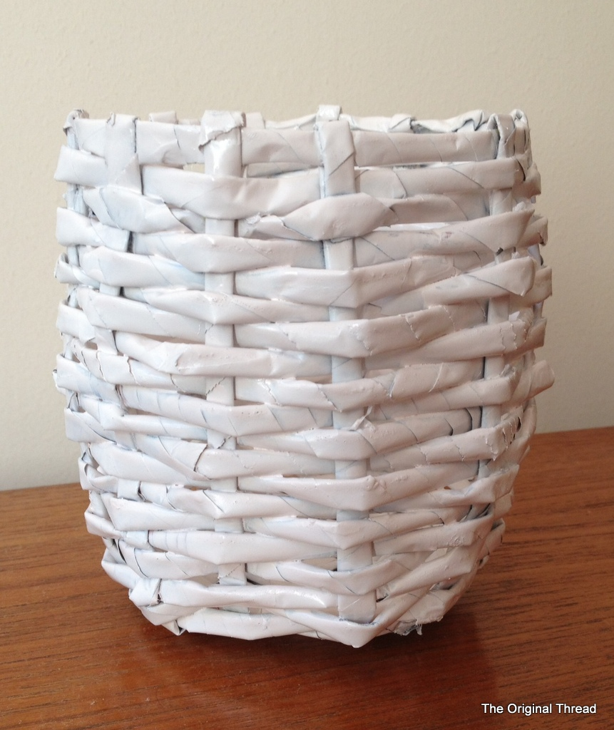 Diy recycled newspaper mini basket theoriginalthread for Easy diy recycled projects