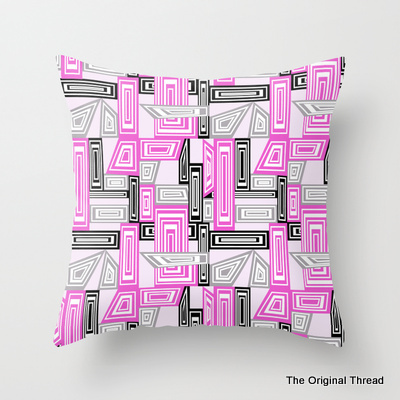 Abstract Geometric Pinks Cushion