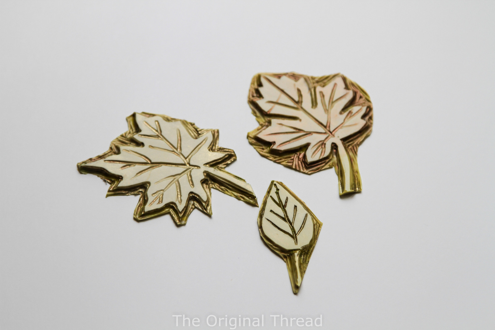 Hand carved leaf stamps theoriginalthread