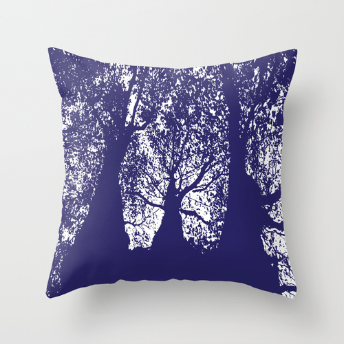 trees in midnight blue cushion